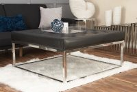 Cole Grey Stainless Steel And Leather Coffee Table Wayfair intended for dimensions 3088 X 2098