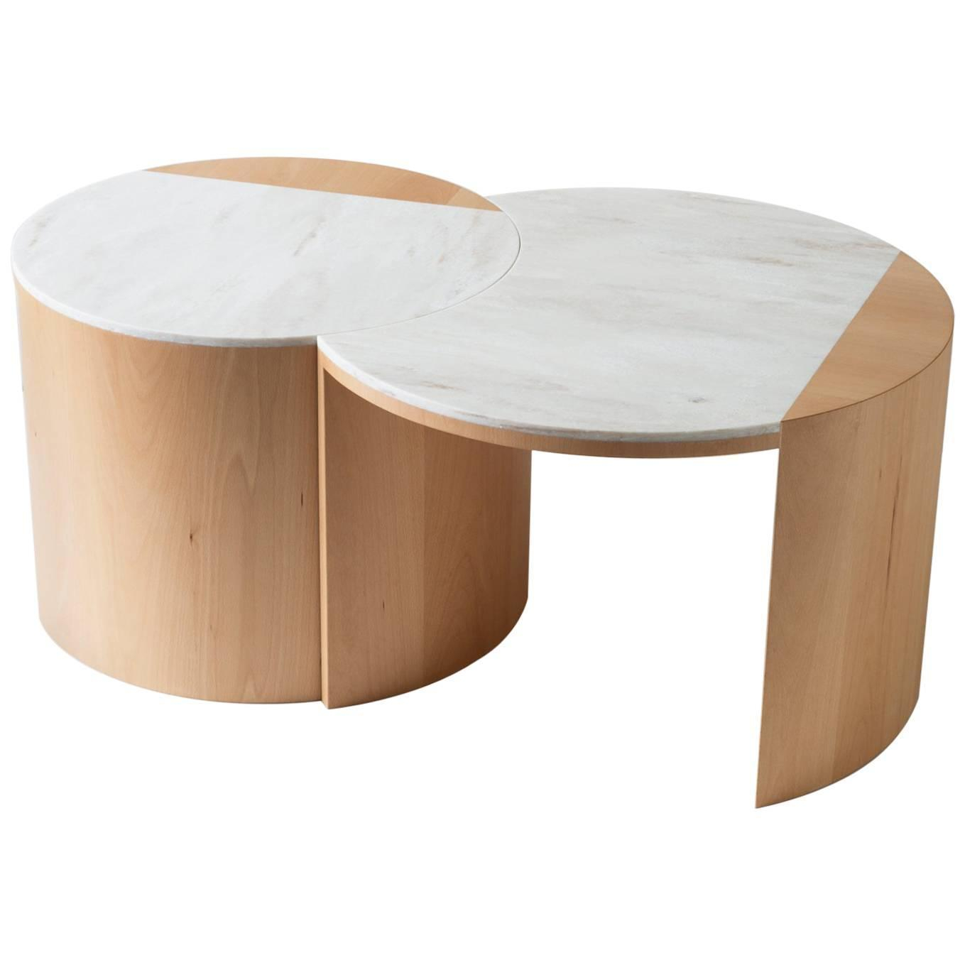 Contemporary Gibbous Coffee Table In European Beech With Witch Hazel for sizing 1359 X 1359