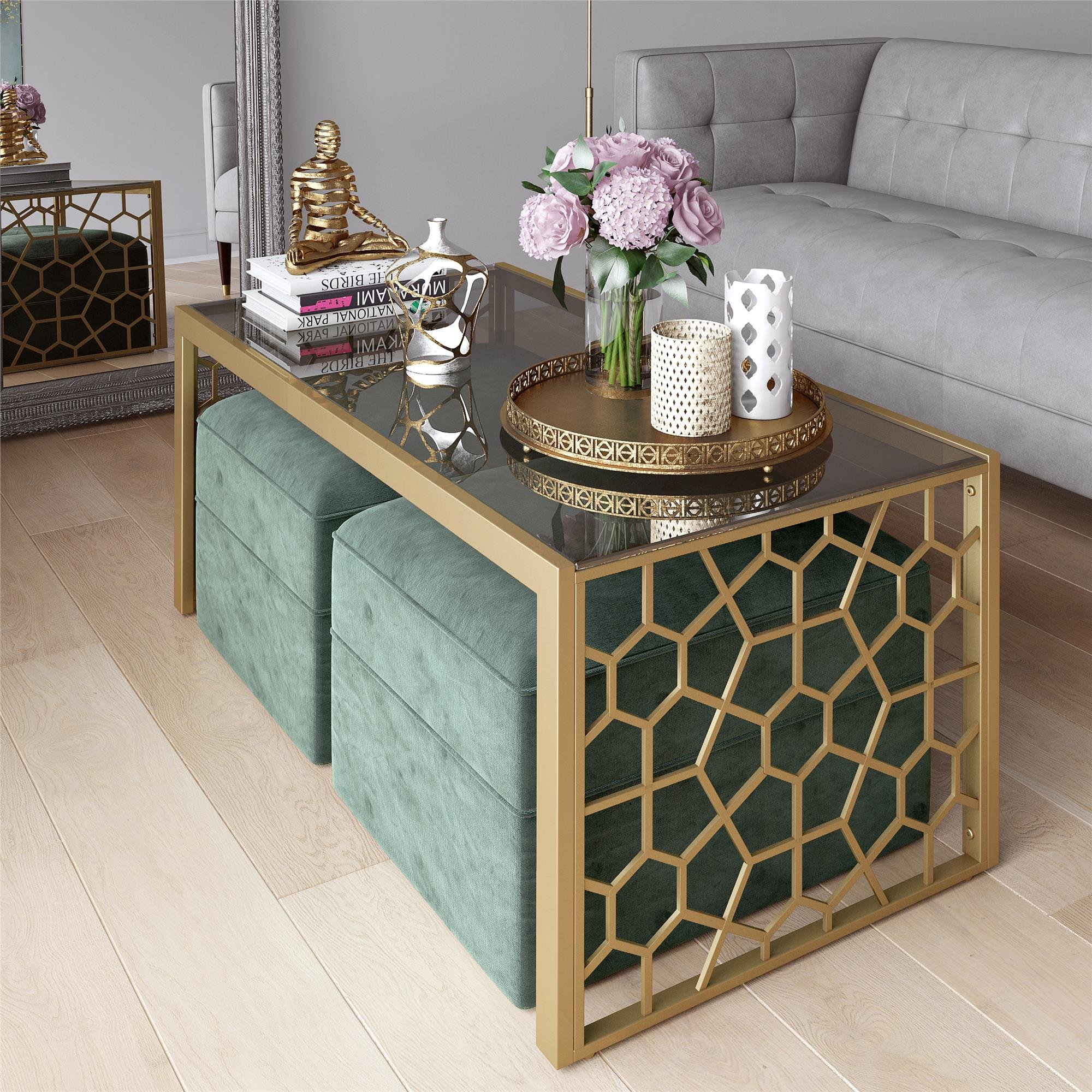 Cosmoliving Cosmopolitan Juliette Glass Top Coffee Table throughout size 2000 X 2000