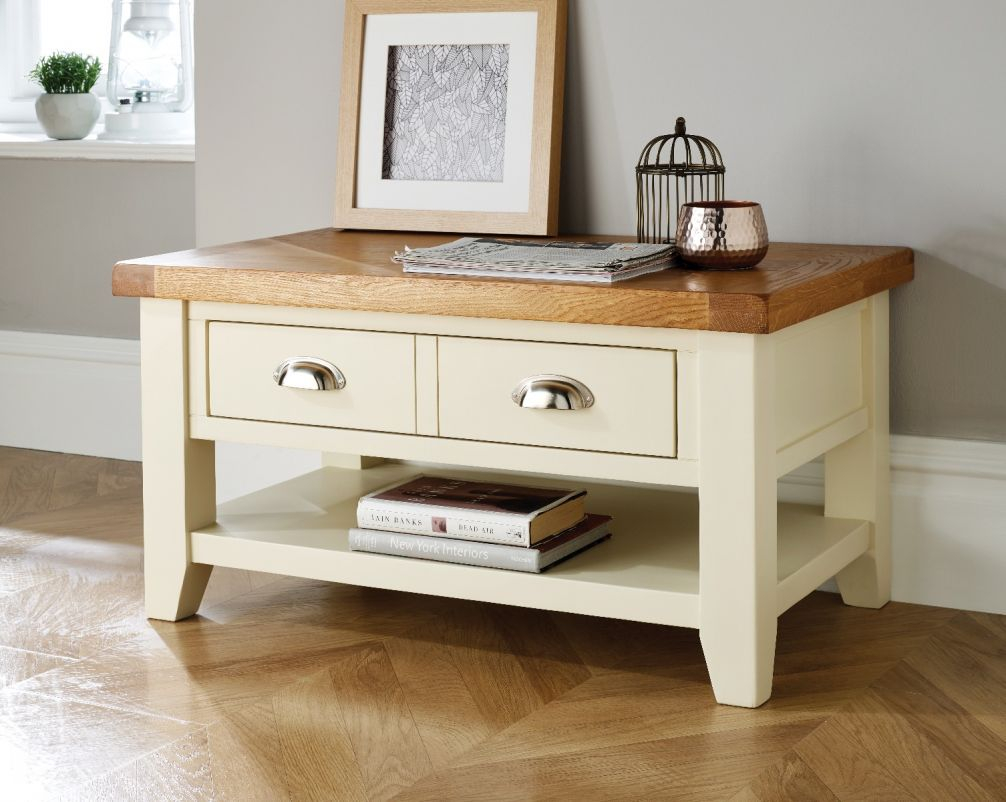 Country Oak Cream Painted Coffee Table With Drawers throughout dimensions 1006 X 802