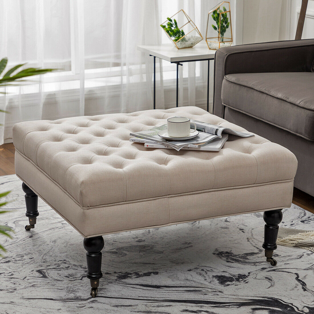 Cowhide Ottoman Coffee Table Storage Footstool Large Square Flip for sizing 1100 X 1100