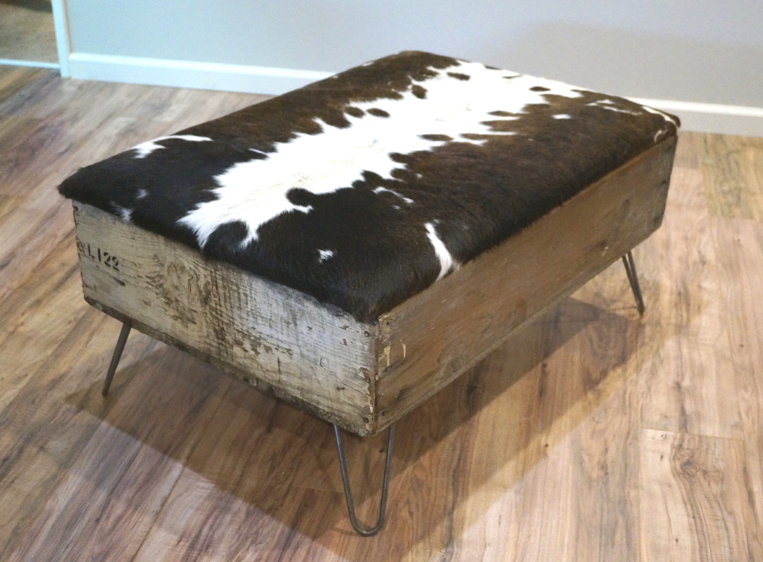 Cowhide Ottoman Cowhide Coffee Table Up Cyled Storage Bench Etsy with regard to proportions 3000 X 2209