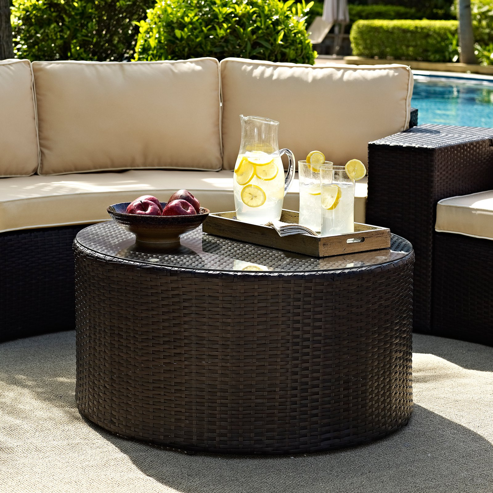 Crosley Furniture Catalina Outdoor Wicker Round Glass Top Coffee within dimensions 1600 X 1600