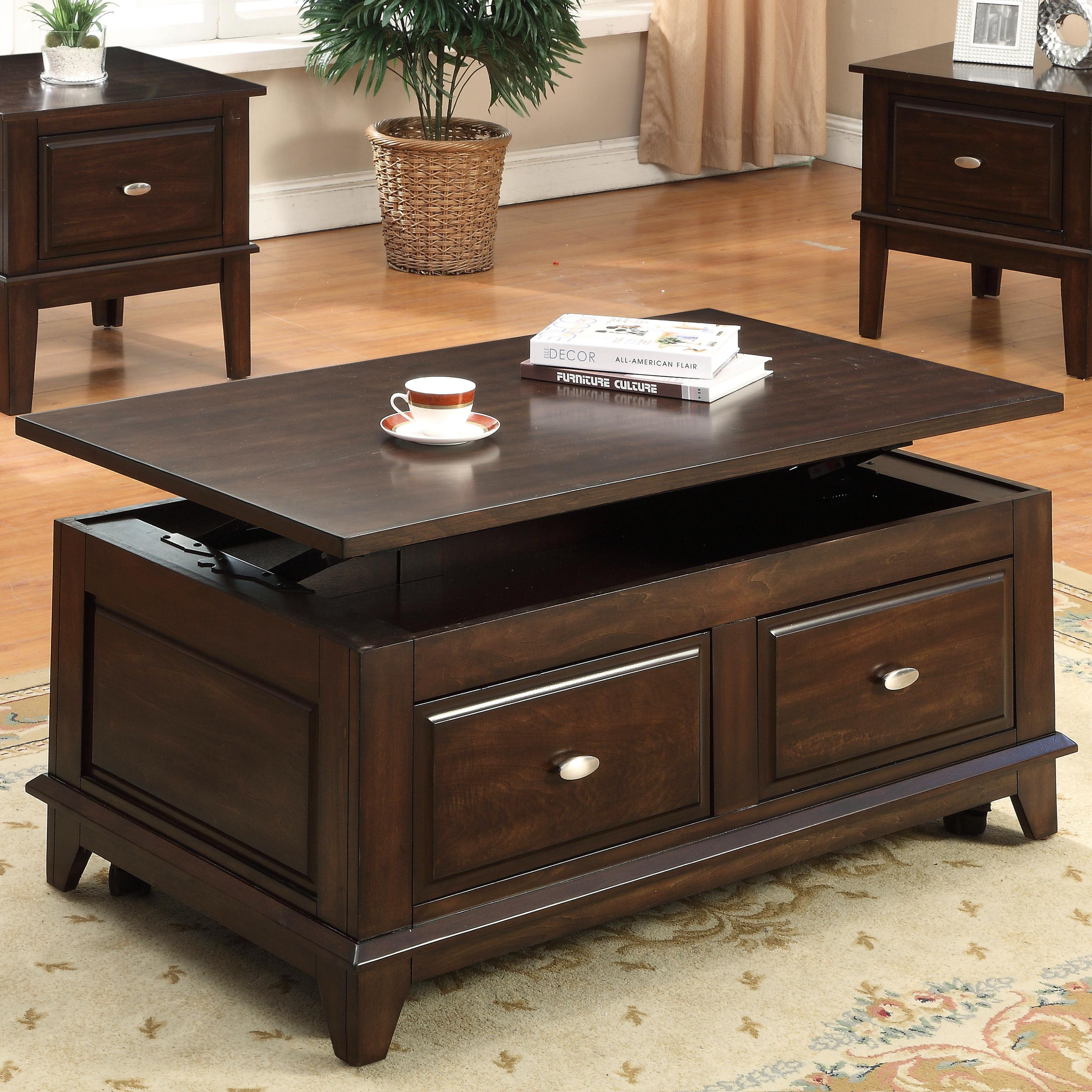Crown Mark Harmon Lift Top Coffee Table With Casters Royal inside dimensions 3156 X 3156