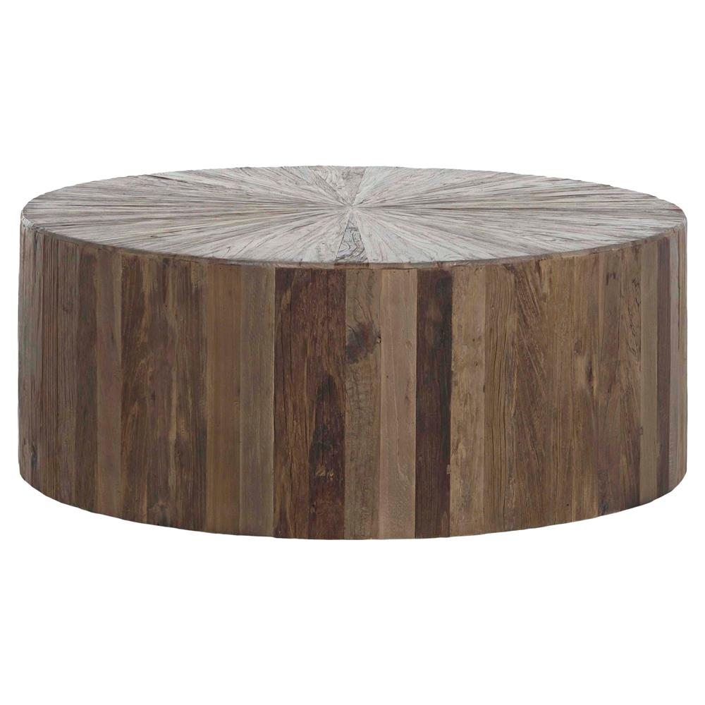 Cyrano Reclaimed Wood Round Drum Modern Eco Coffee Table Kathy Kuo with dimensions 1000 X 1000