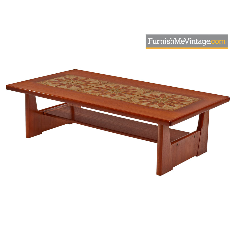 Danish Coffee Table Brdr Furbo Stone Tile Inlaid Teak regarding proportions 1000 X 1000