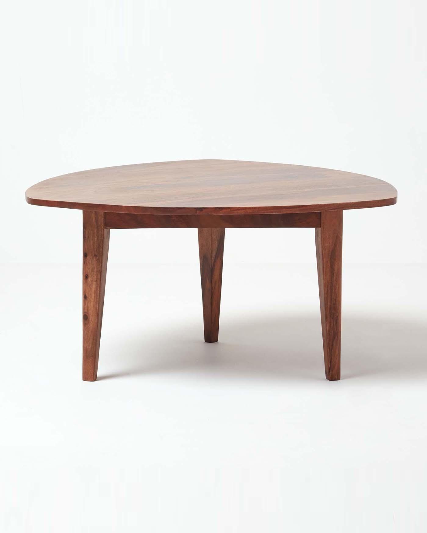 Dark Wood Triangular Coffee Table Retro Design 100 Solid Wood pertaining to size 1400 X 1750