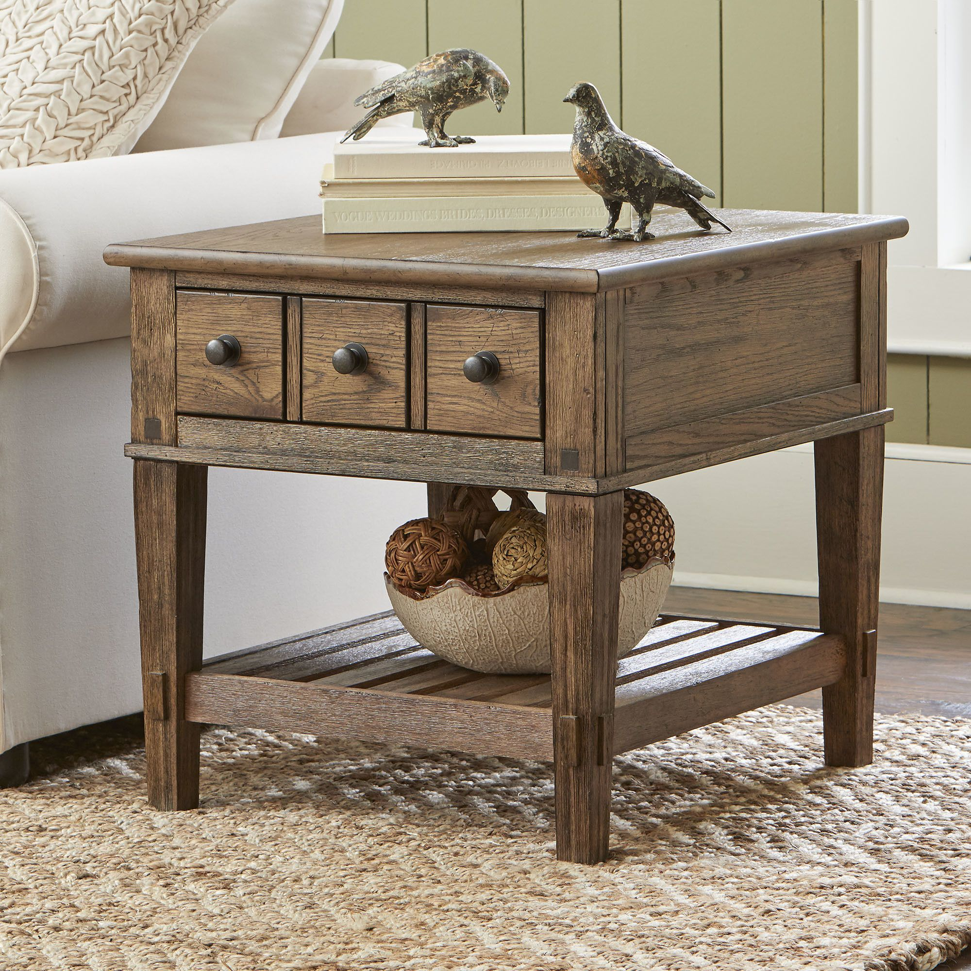 Derrickson Side Table With Drawers Clock Farmhouse End Tables throughout proportions 2000 X 2000