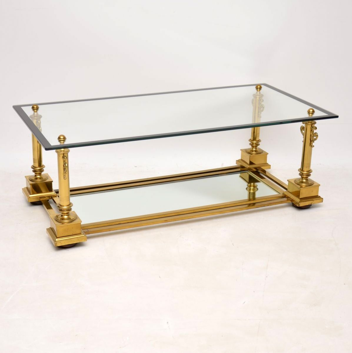Details About Maison Charles Coffee Table In Brass Glass Made In France Vintage 1950s inside dimensions 1196 X 1198