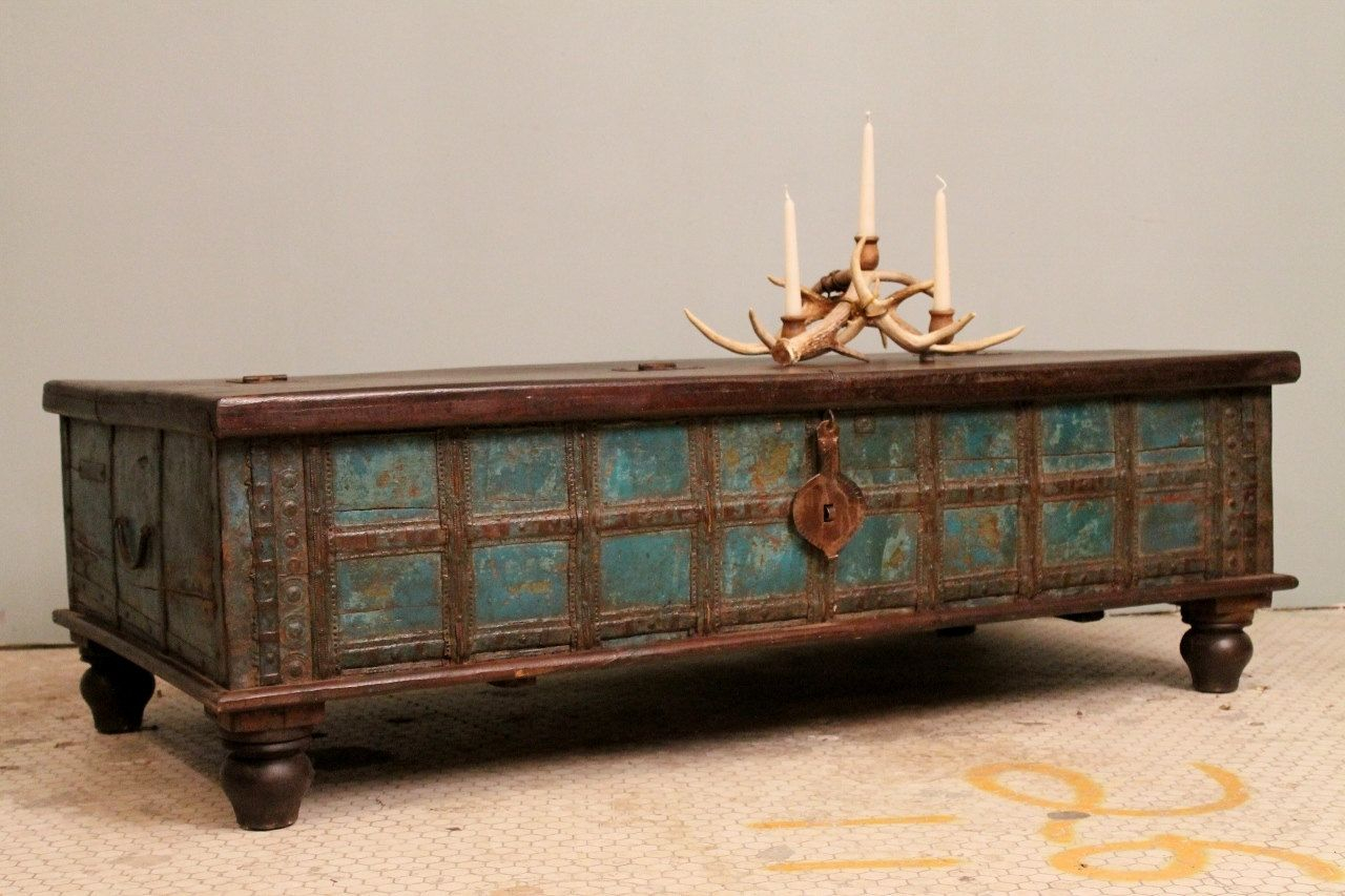 Distressed Blue Antique Indian Wedding Trunk Coffee Table Chest W within sizing 1280 X 853