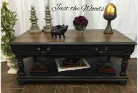 Distressed Coffee Table In Black And Tan Just The Woods for size 1000 X 1000