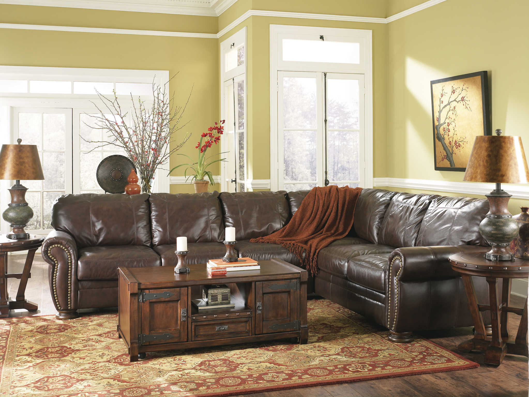 Distressed Leather Sectional Homesfeed with regard to measurements 2046 X 1535