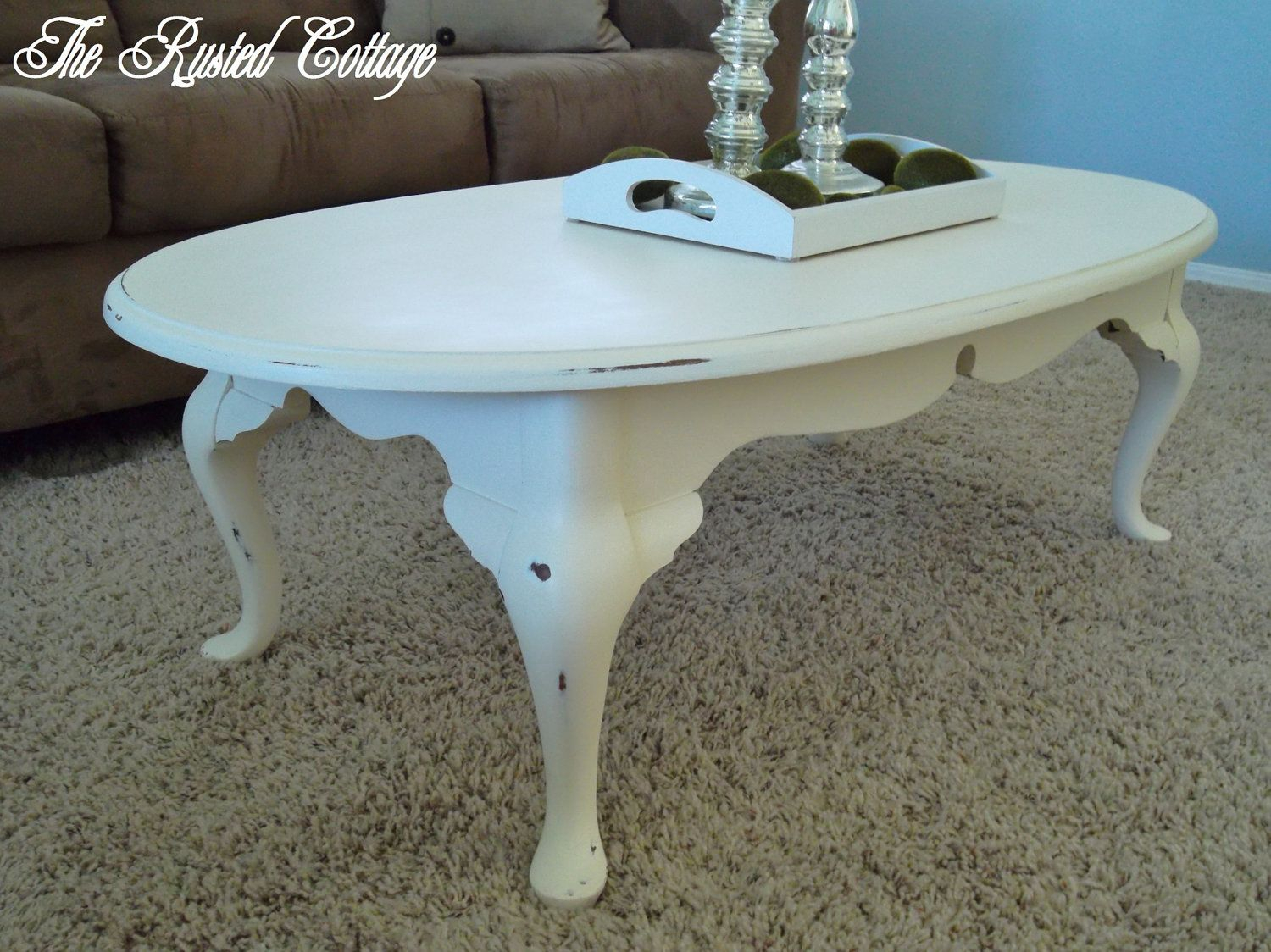 Distressed Oval Coffee Table Via Etsy For The Home Painted with sizing 1500 X 1124