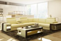 Divani Casa 5080b Beige And Brown Leather Sectional Sofa W Coffee in proportions 1200 X 666