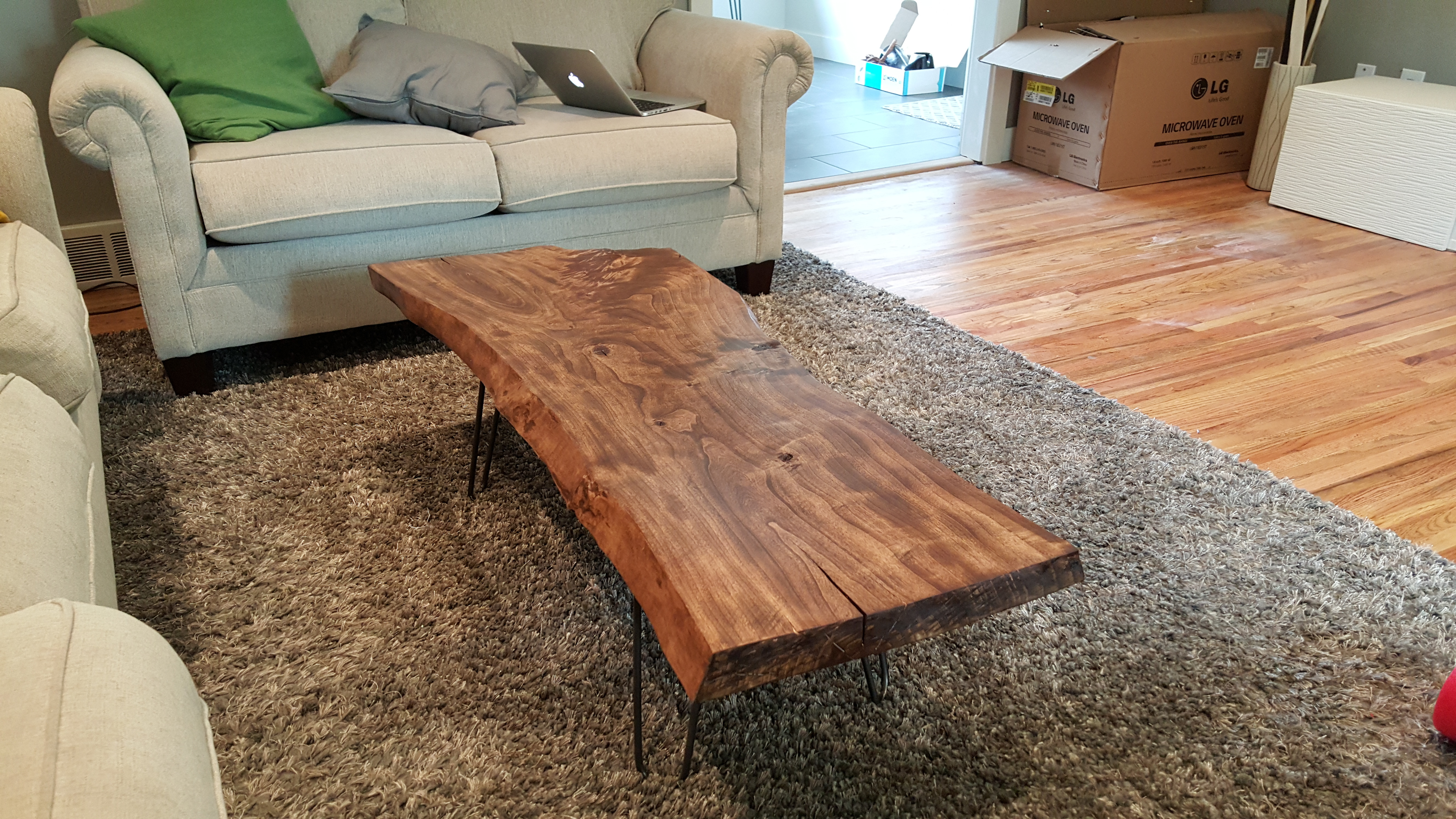 Diy Live Edge Wood Coffee Table Album On Imgur with regard to sizing 5312 X 2988
