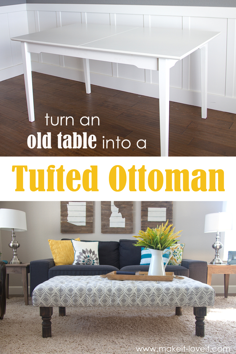 Diy Tufted Fabric Ottoman From An Old Table Make It And Love It within proportions 1000 X 1500
