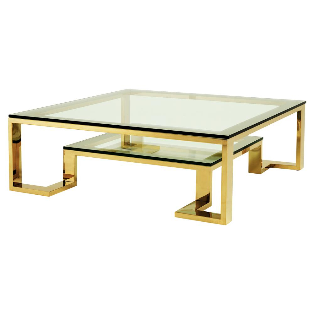 Eichholtz Huntington Hollywood Regency Glass Top 2 Tier Gold within proportions 1000 X 1000