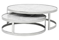 Eichholtz Orlando Modern Silver White Stone 2 Piece Round Coffee throughout proportions 1000 X 1000