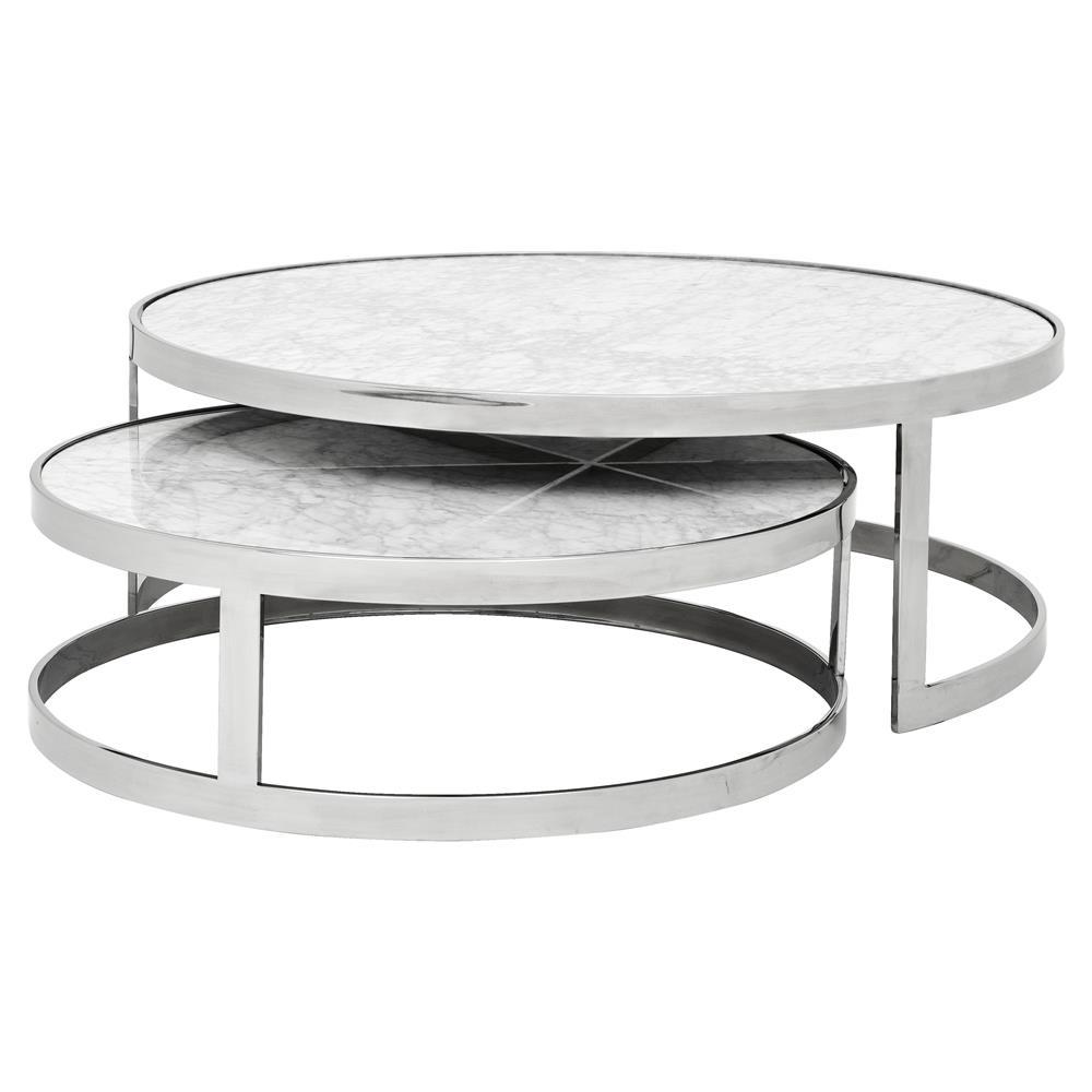 Eichholtz Orlando Modern Silver White Stone 2 Piece Round Coffee throughout proportions 1000 X 1000