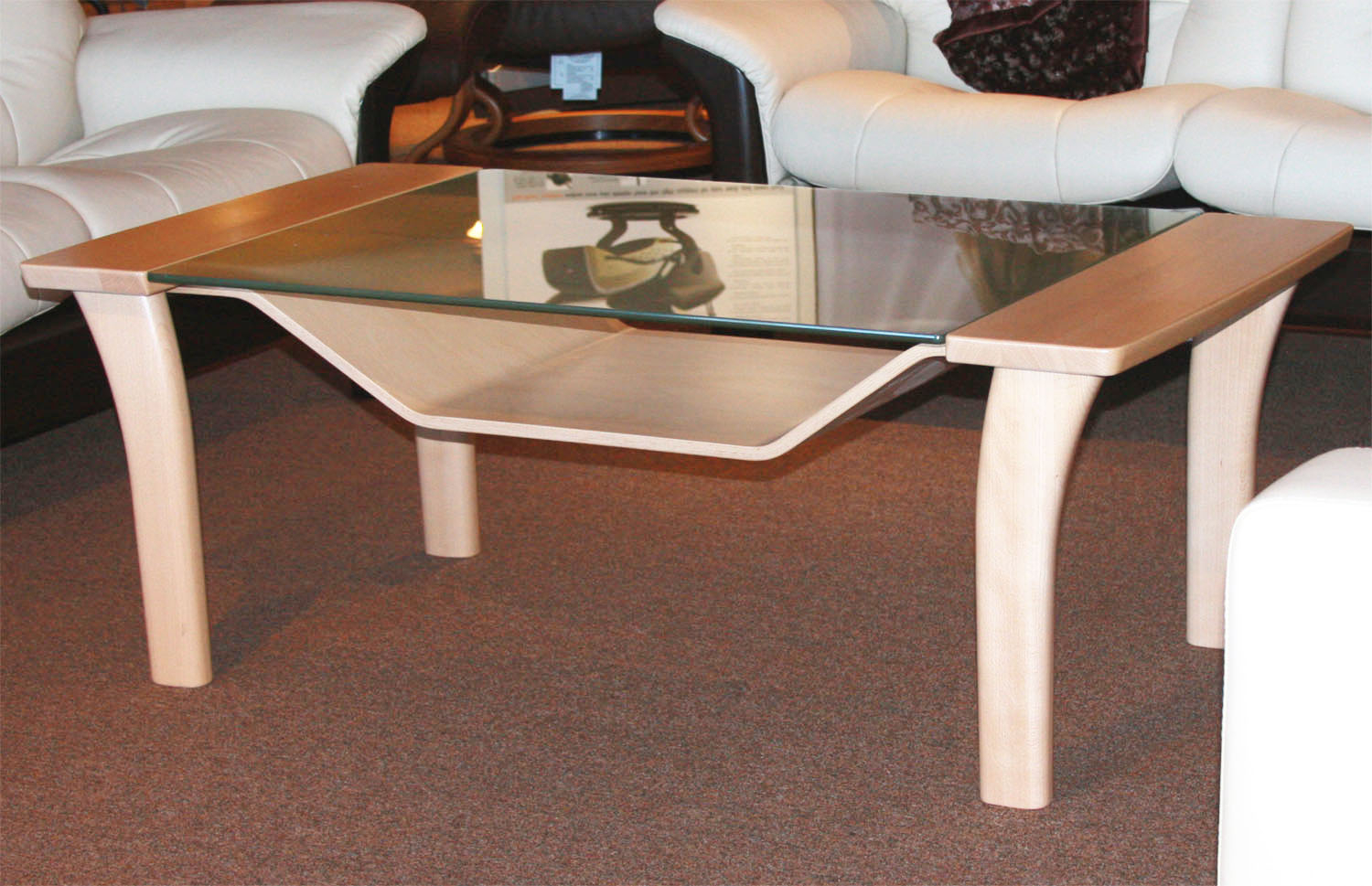 Ekornes Stressless Windor Wood Glass Coffee Table Ergonomic Furniture within proportions 1500 X 969