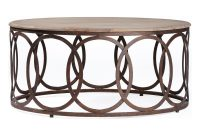 Ella Rustic Oak Interlocking Circle Coffee Table Kathy Kuo Home within dimensions 1000 X 1021