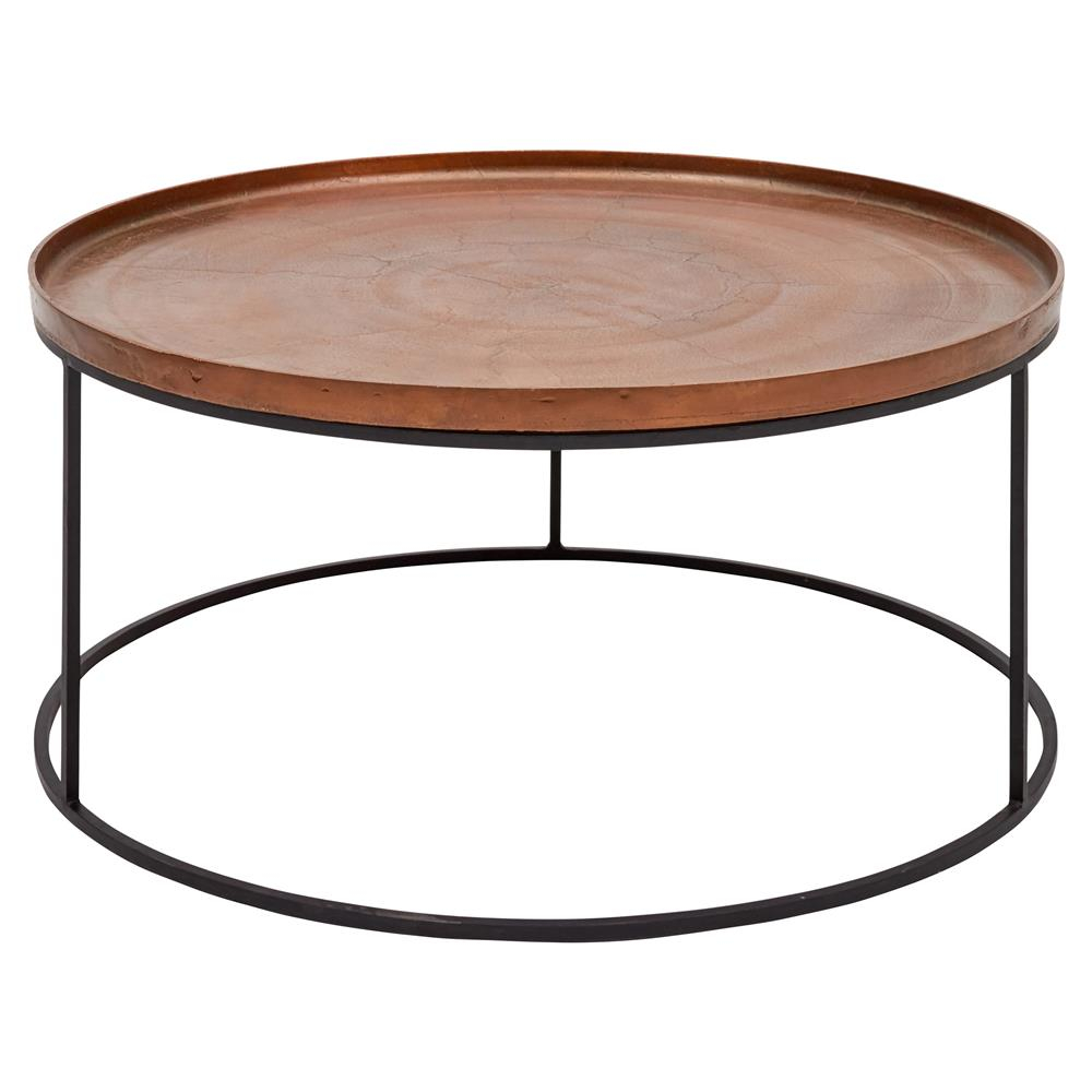 Emily Industrial Loft Black Metal Base Round Copper Coffee Table within measurements 1000 X 1000