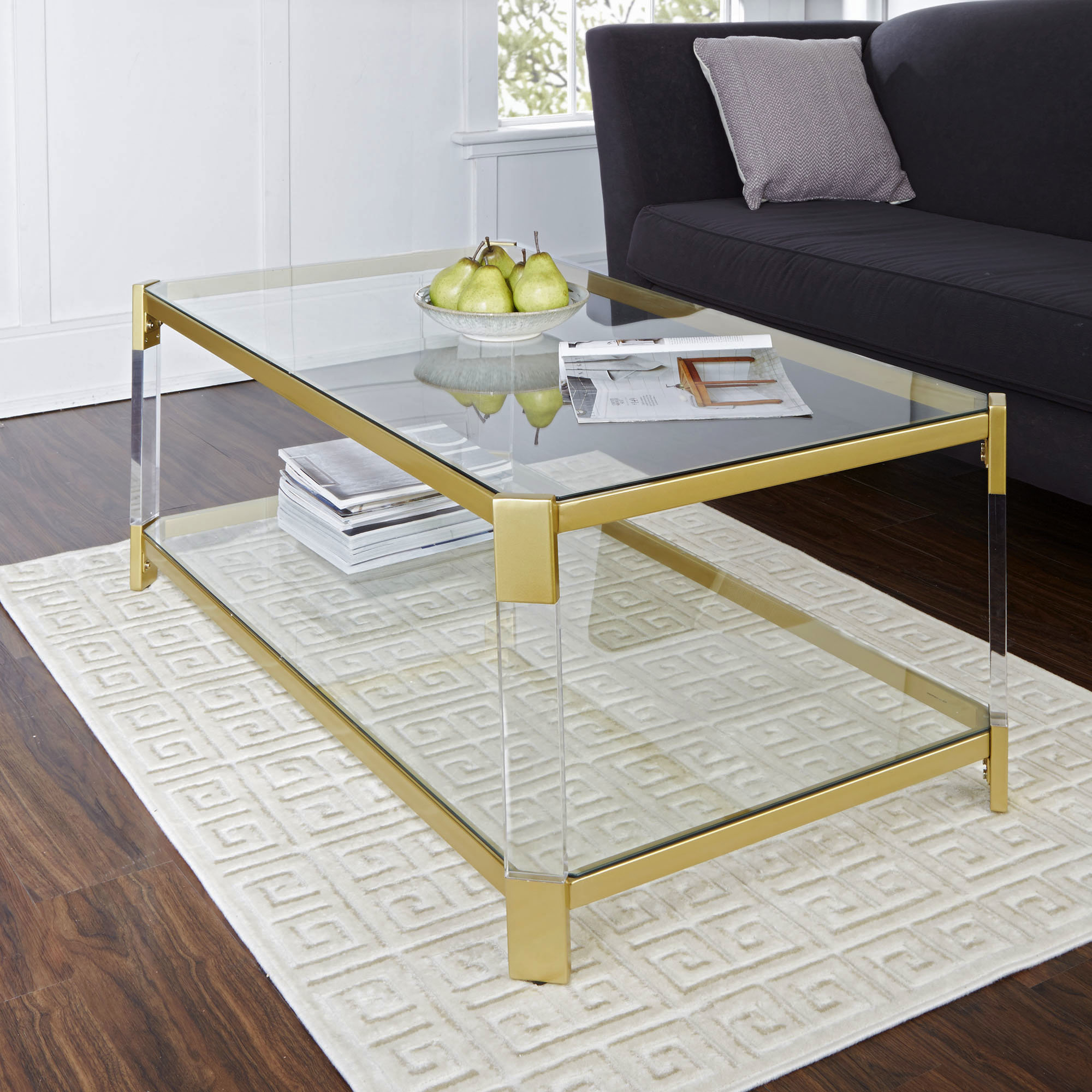 Everly Quinn Hythe Clear Glass Coffee Table Reviews Wayfair within measurements 2000 X 2000