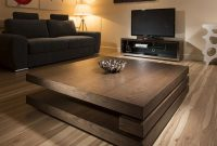 Extra Large Modern Square Dark Elm Brown Wood 12mt Coffee Table in measurements 900 X 900