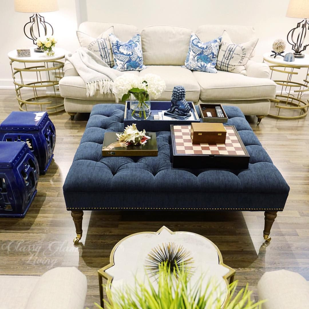 Family Room Living Room Blue Decor Large Tufted Ottoman inside proportions 1080 X 1080