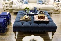 Family Room Living Room Blue Decor Large Tufted Ottoman regarding sizing 1080 X 1080