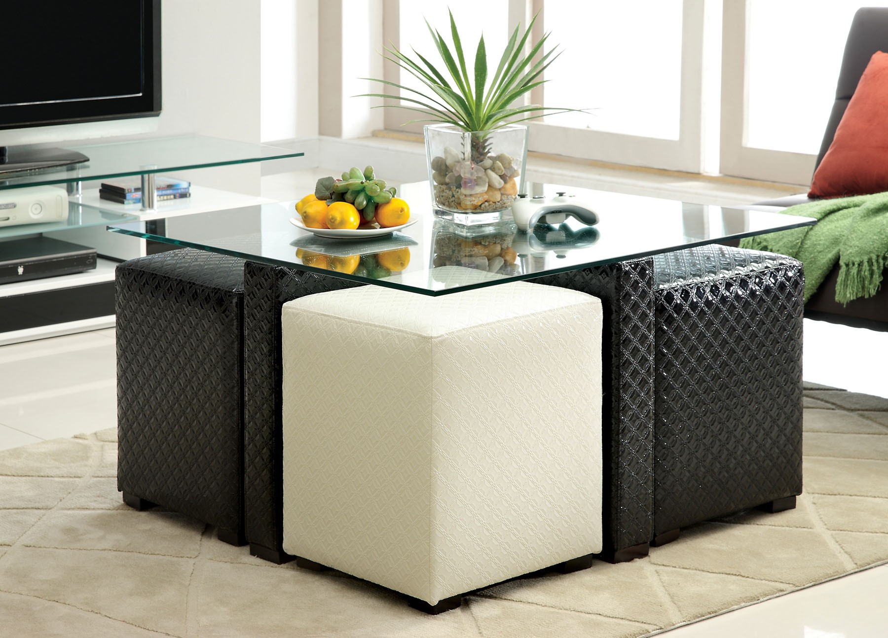 Glass Top Coffee Table With Storage For Poufs intended for sizing 1800 X 1294