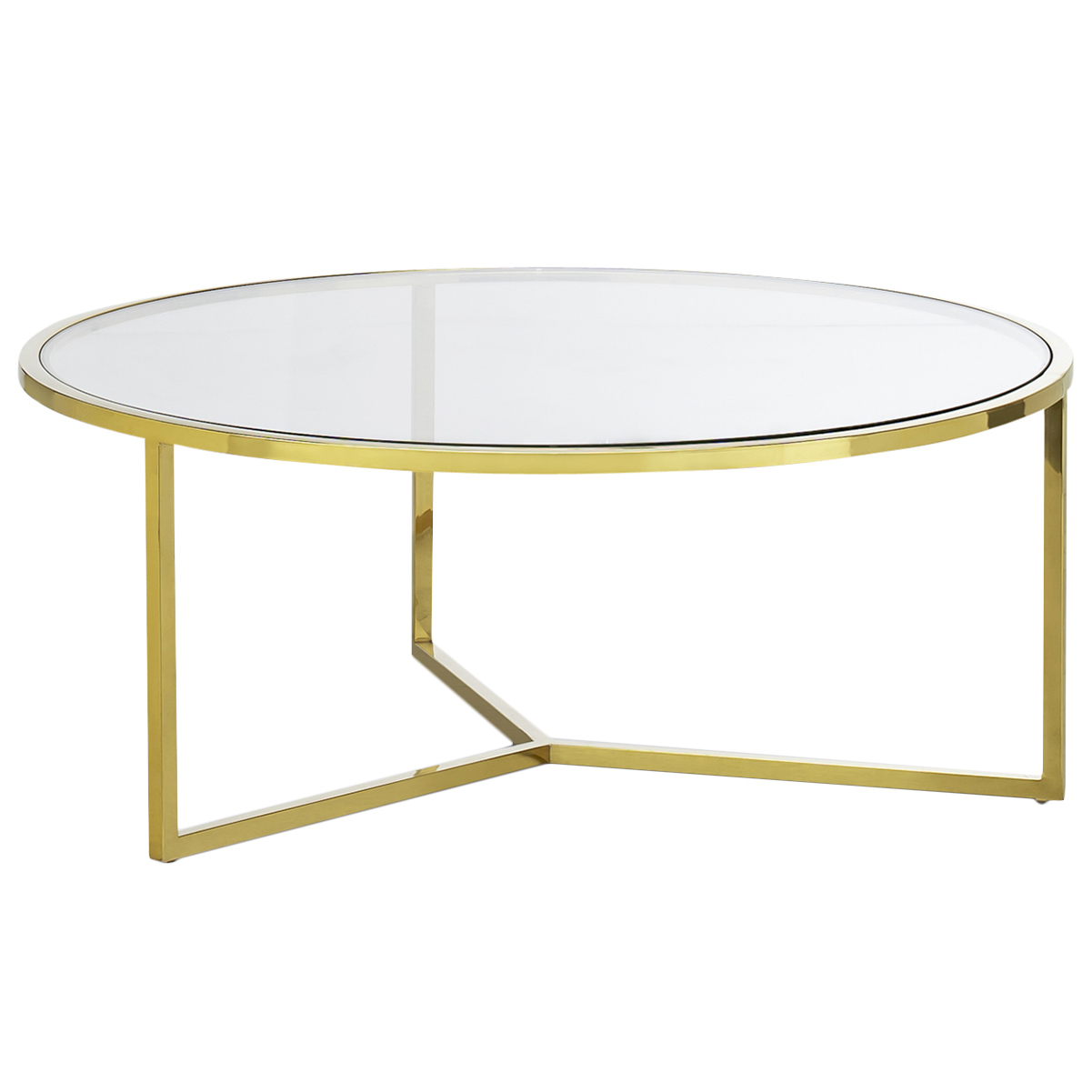 Gold Polished Luxe Round Coffee Table Temple Webster with measurements 1201 X 1201