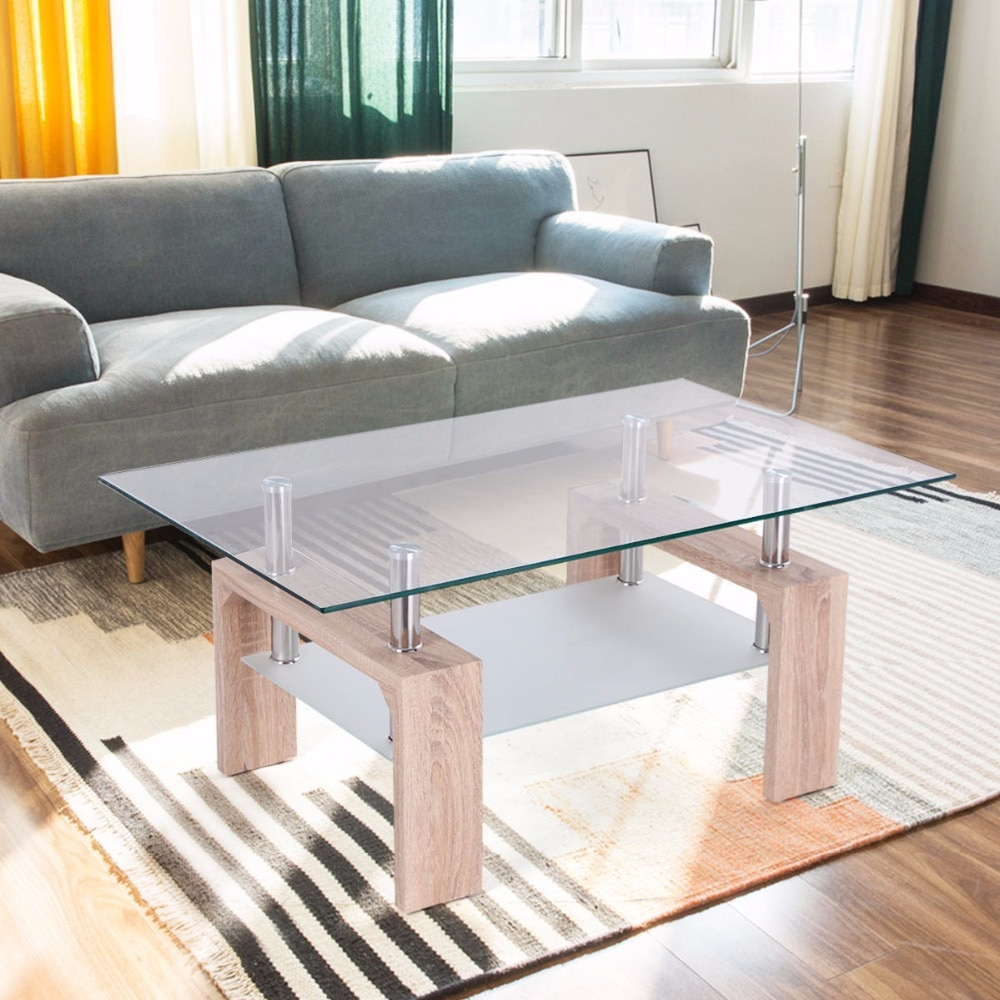 Goplus Rectangular Glass Coffee Table With Storage Shelf Modern Wood for proportions 1000 X 1000