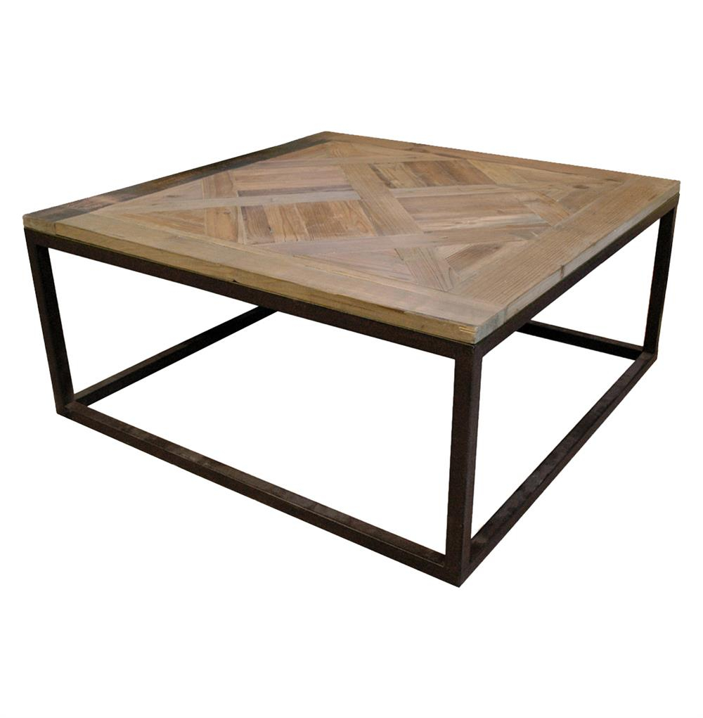 Gramercy Modern Rustic Reclaimed Parquet Wood Iron Coffee Table regarding proportions 1000 X 1021