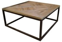 Gramercy Modern Rustic Reclaimed Parquet Wood Iron Coffee Table regarding sizing 1000 X 1021