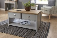 Grey Oak Coffee Table 2 Drawer Occasional Table Metal Handles inside size 1800 X 1176