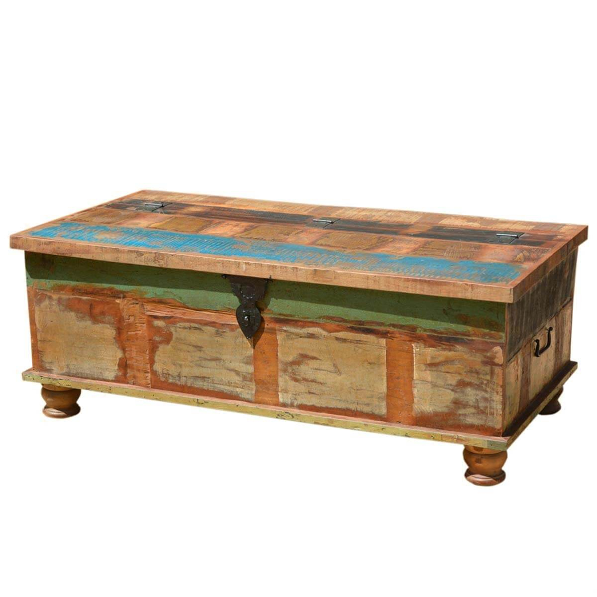 Grinnell Rustic Reclaimed Wood Coffee Table Storage Trunk throughout proportions 1200 X 1200