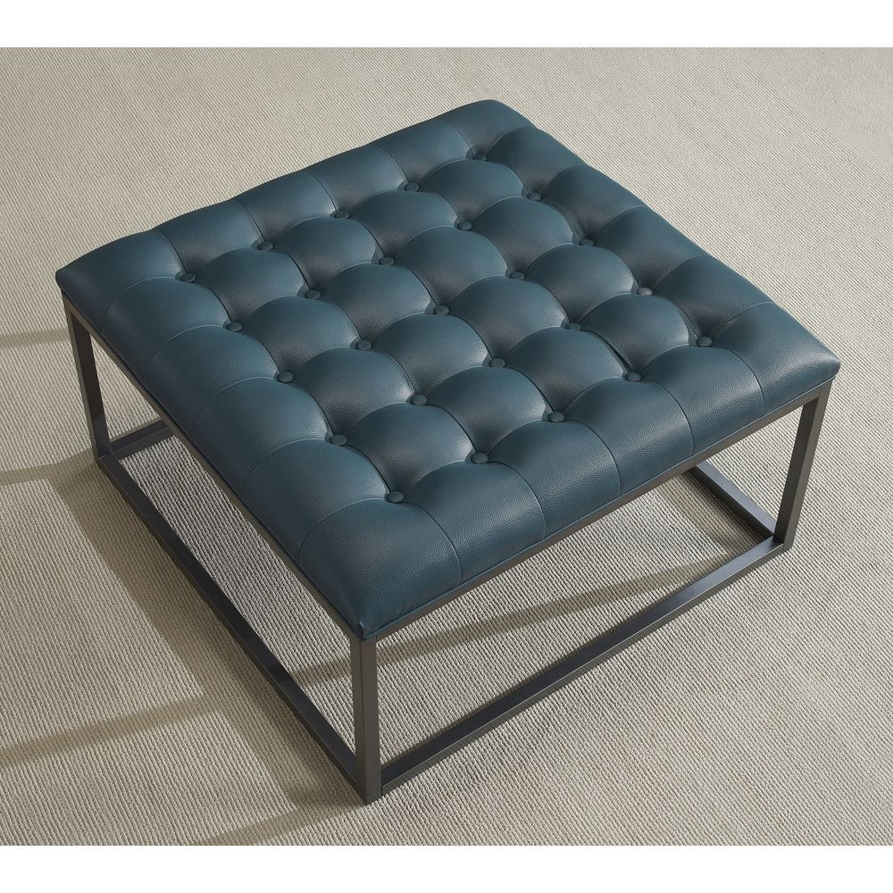 Healy Teal Leather Tufted Ottoman Overstock Shopping Great regarding sizing 1000 X 1000