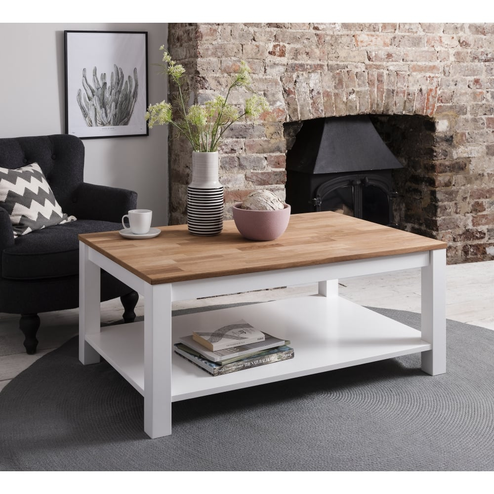 Hever Coffee Table In White And Natural Pine Furniture From Noa regarding proportions 1000 X 1000