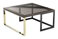 Hialeah Square Coffee Table Brown Glass Black Rouse Home intended for sizing 1000 X 1000