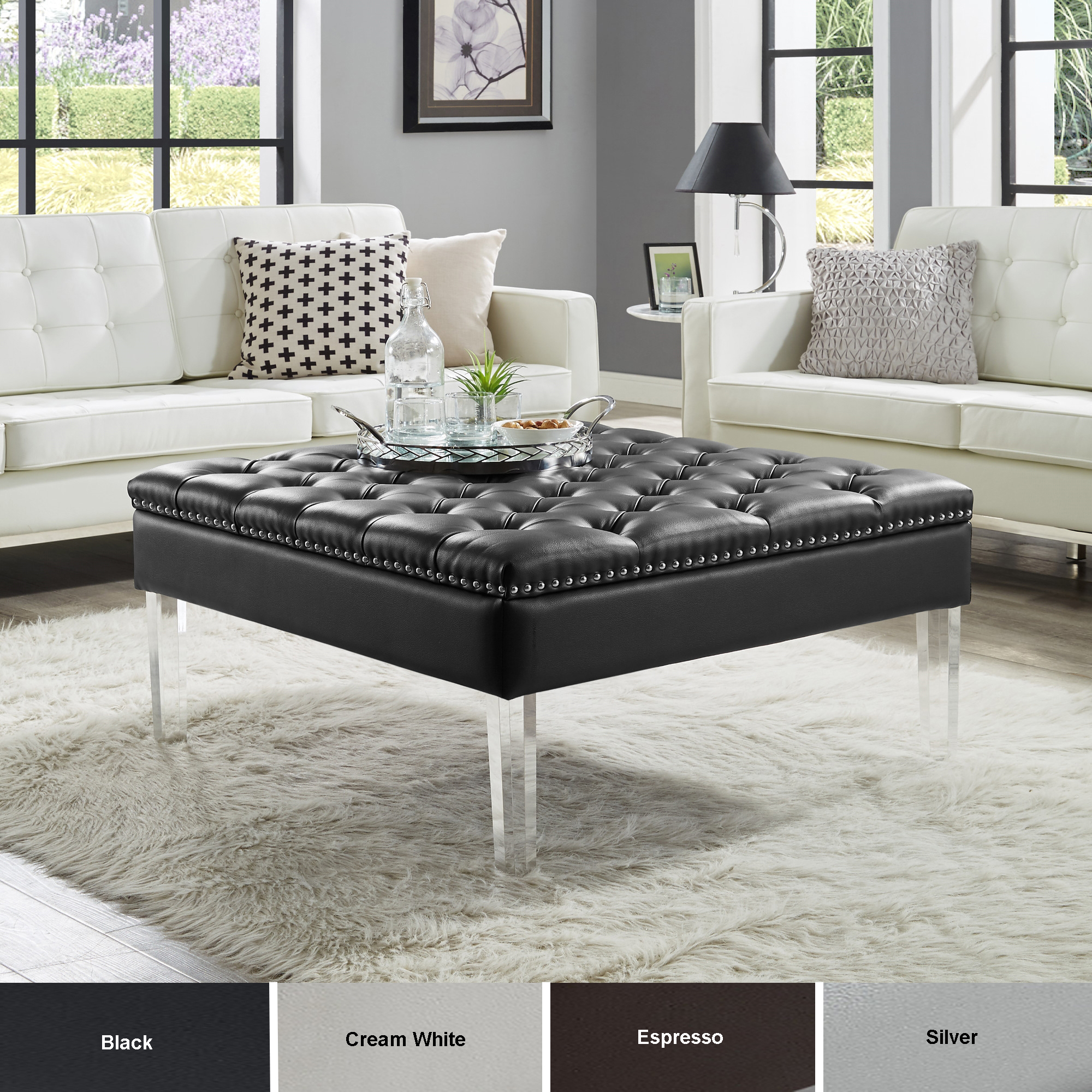 Homespot Spade Pu Leather Ottoman Coffee Table Button Tufted within measurements 2000 X 2000