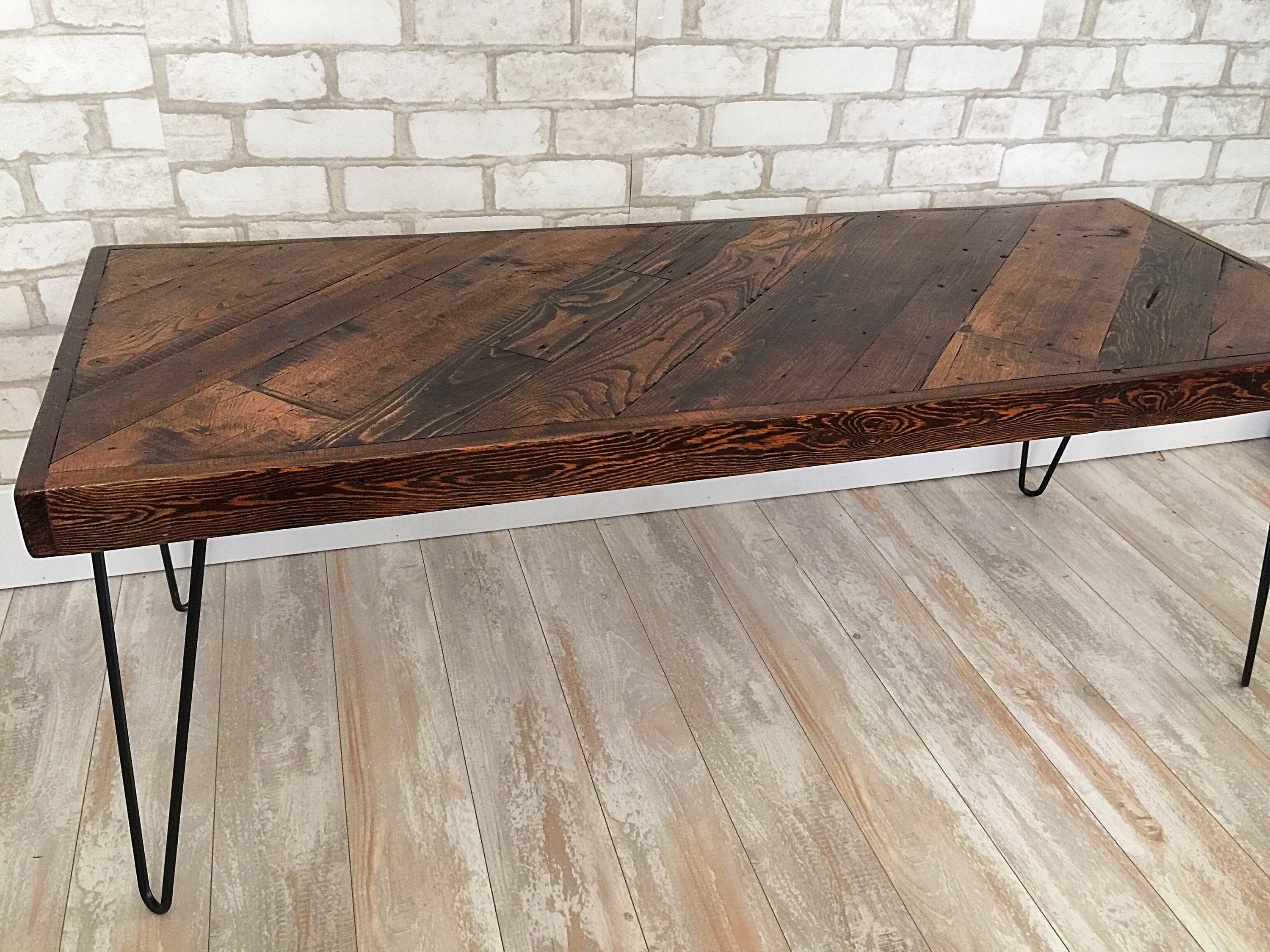 Honey Diagonal Coffee Table Mid Century Modern Rustic Etsy with measurements 3000 X 2250