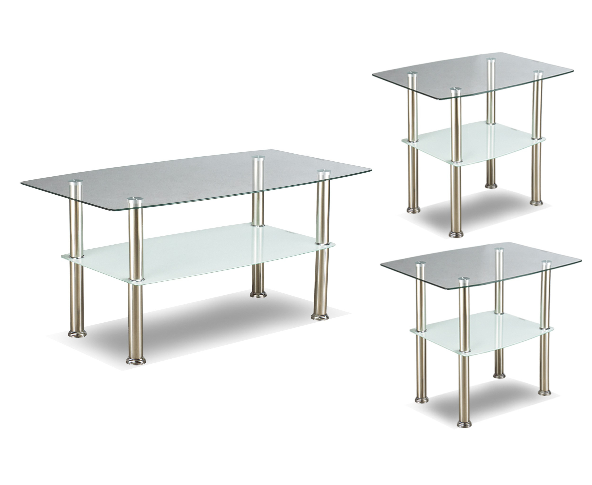 If 2026 3pc Coffee Table Set With Glass Top And Chrome Legs in dimensions 2500 X 2046