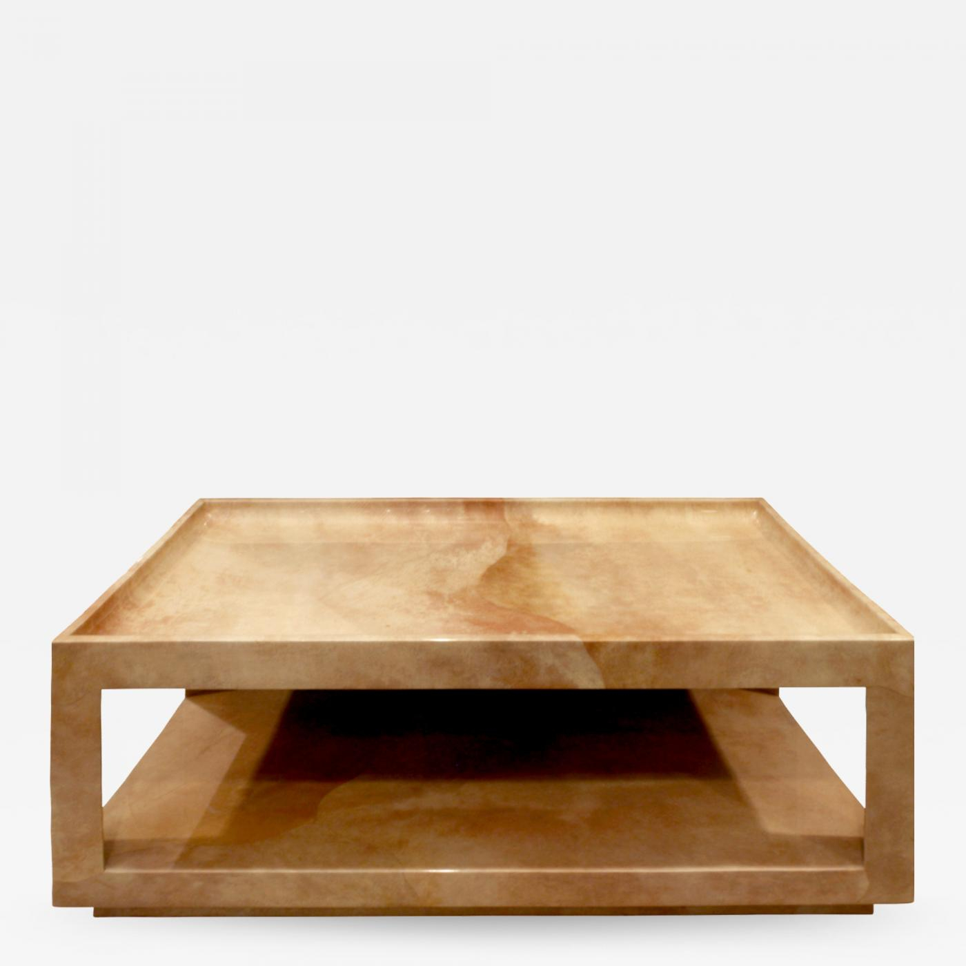 Karl Springer Triangular Leg Coffee Table In Goatskin 1980s throughout size 1400 X 1400