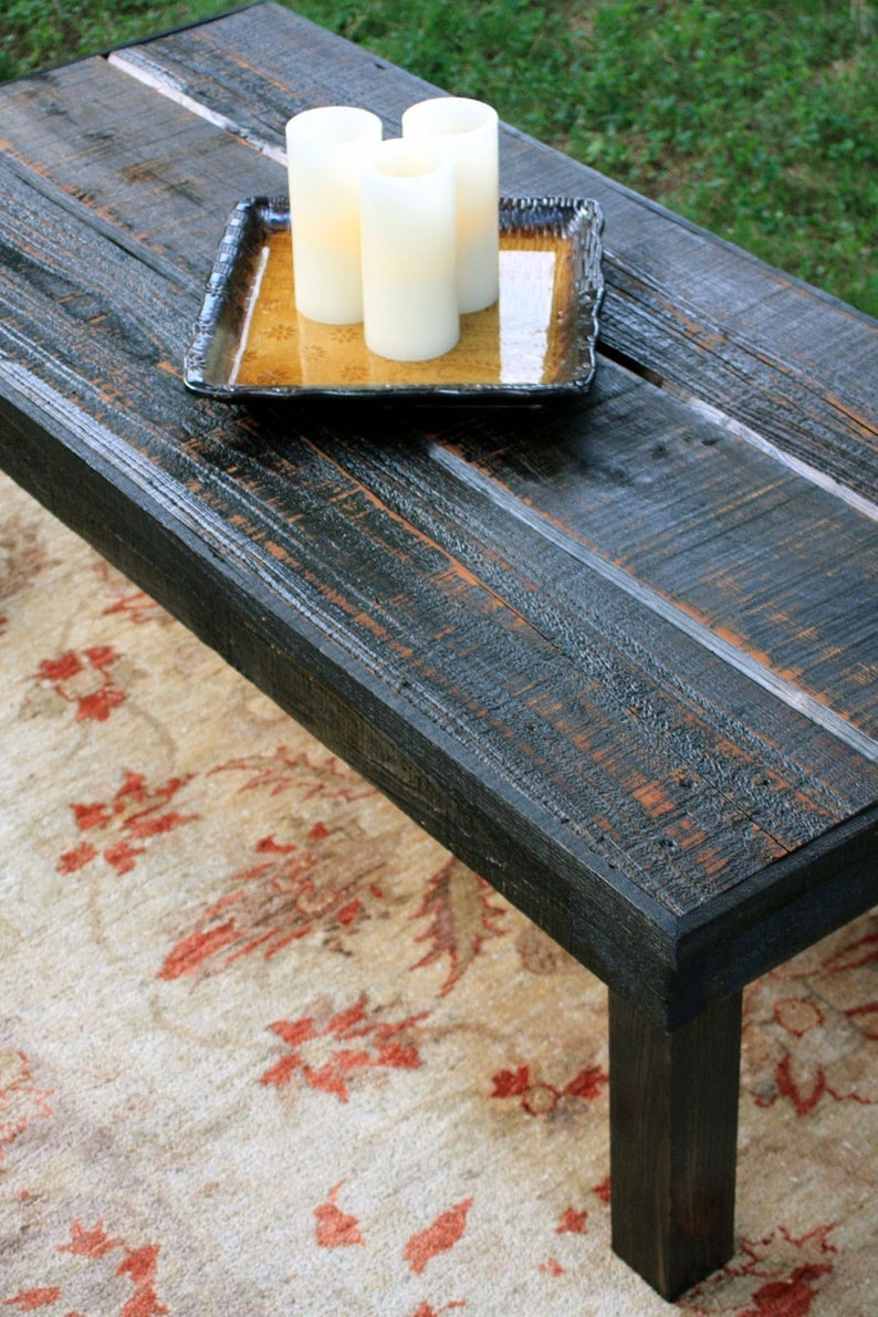Large Rustic Coffee Table Black Coffee Table Rustic Wooden Etsy inside sizing 794 X 1191
