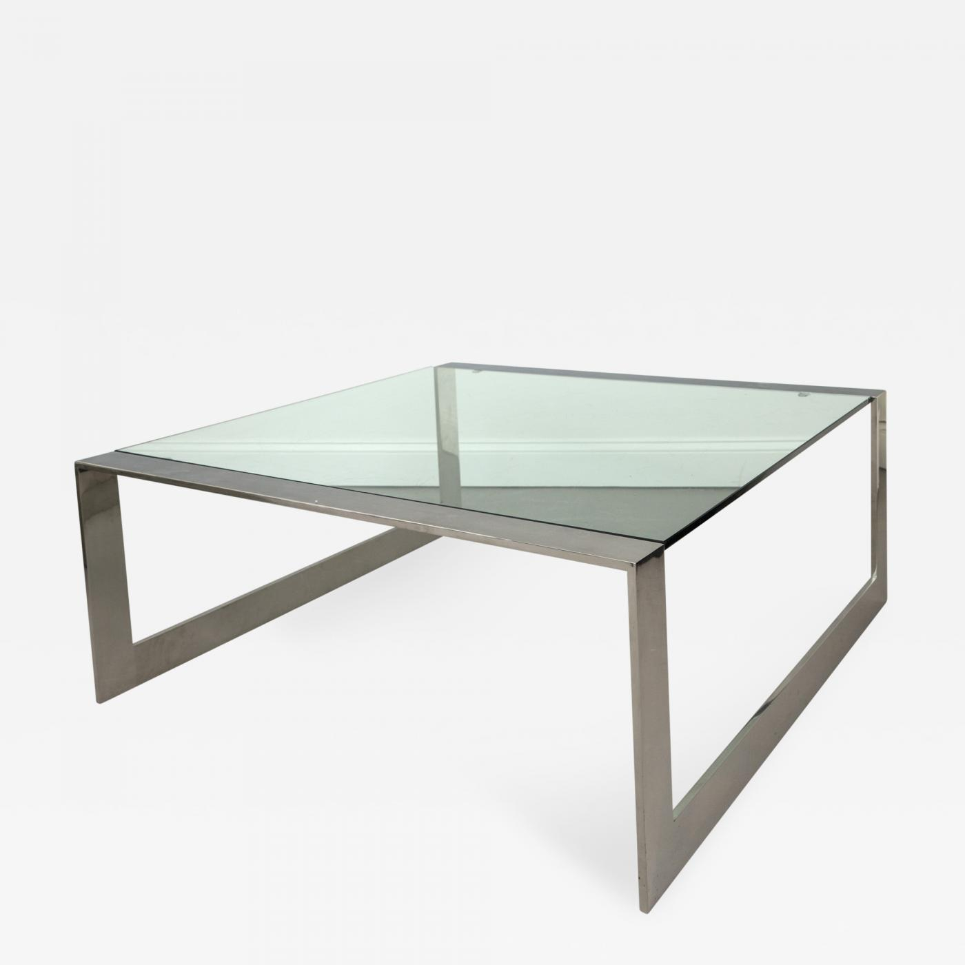 Large Square Glass And Chrome Coffee Table with dimensions 1400 X 1400