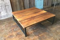 Large Square Reclaimed Wood Coffee Table Industrial H Shaped Metal Legs with regard to proportions 1500 X 1125