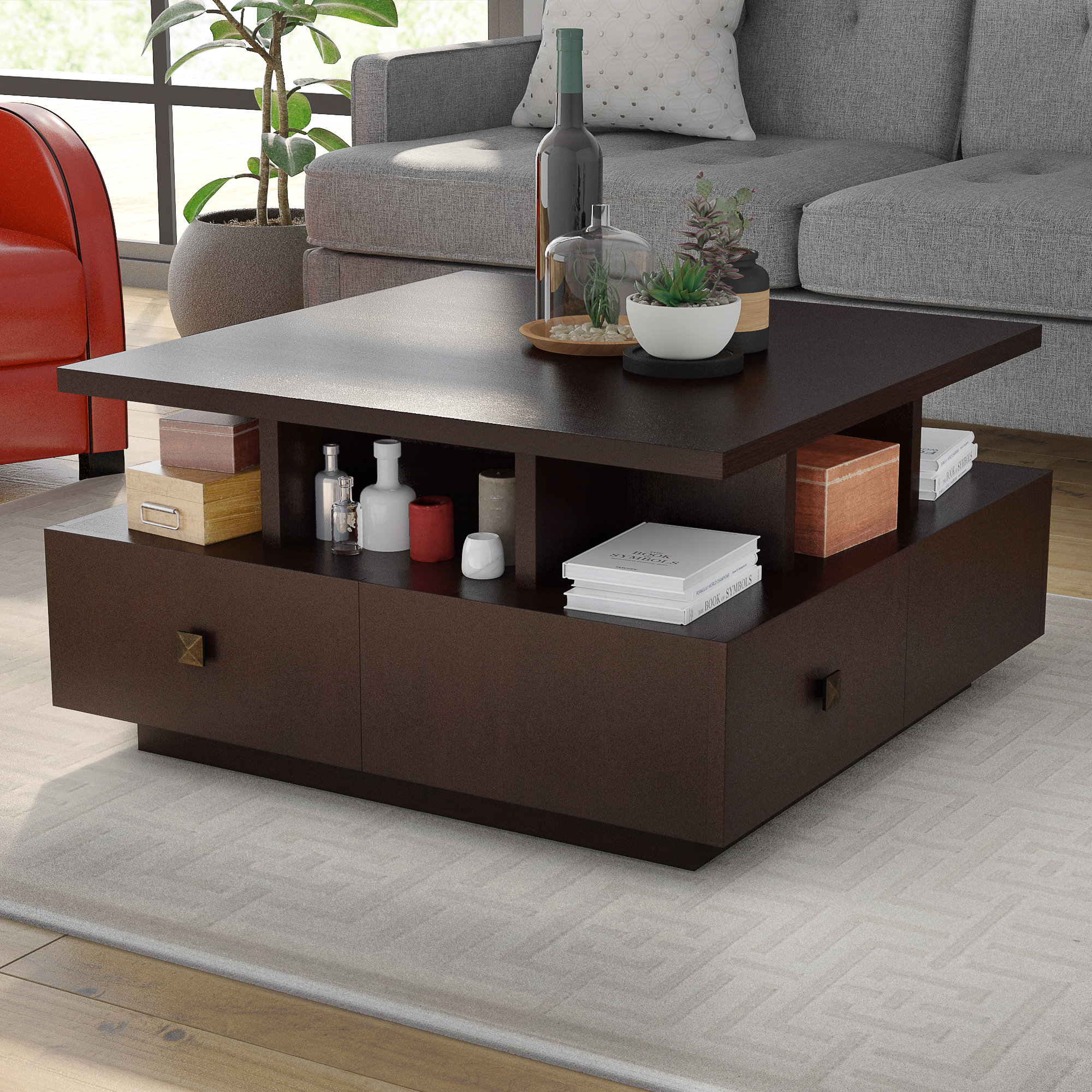 Latitude Run Square Coffee Table With Storage Reviews Wayfair with regard to proportions 2000 X 2000