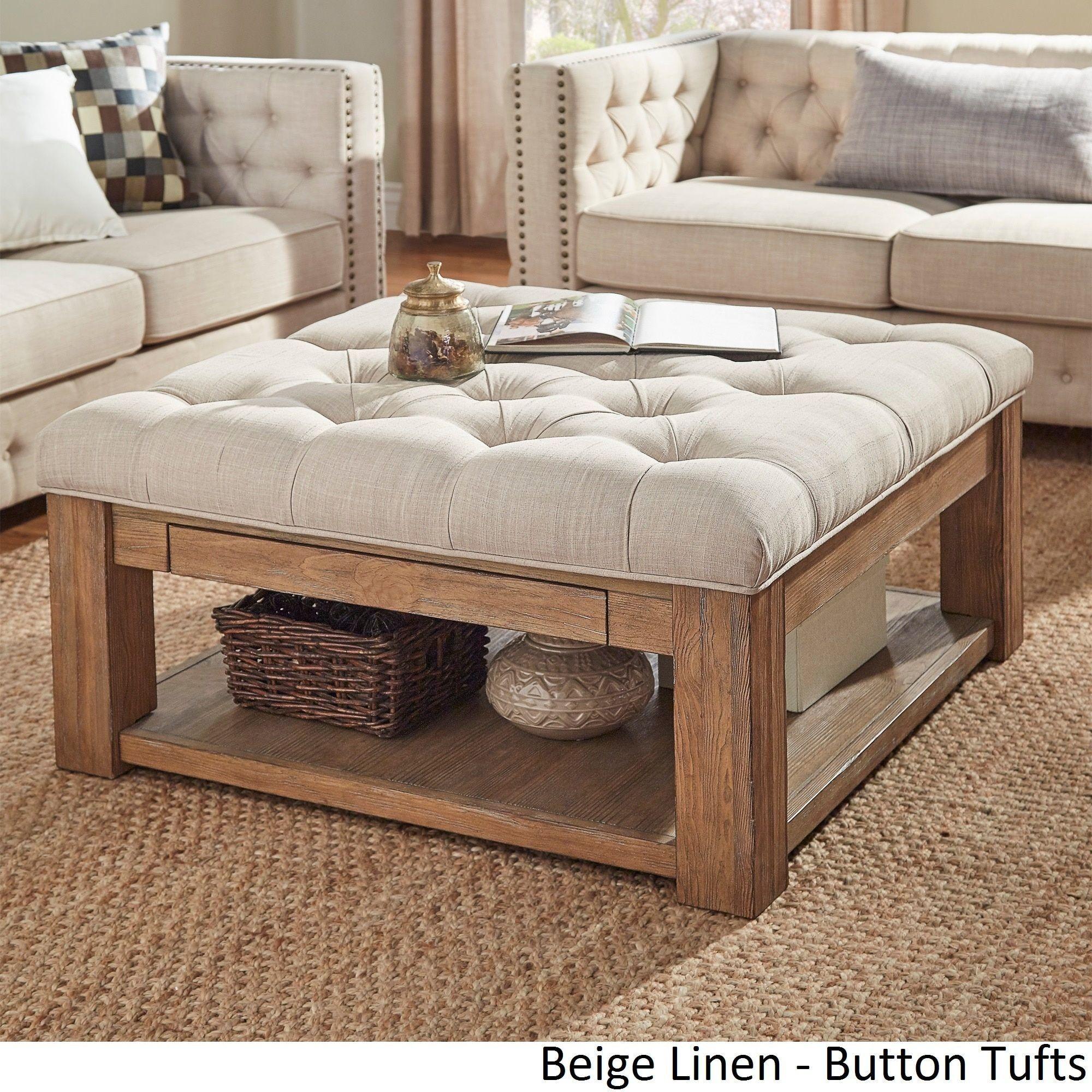 Lennon Pine Square Storage Ottoman Coffee Table Inspire Q Artisan within sizing 2000 X 2000