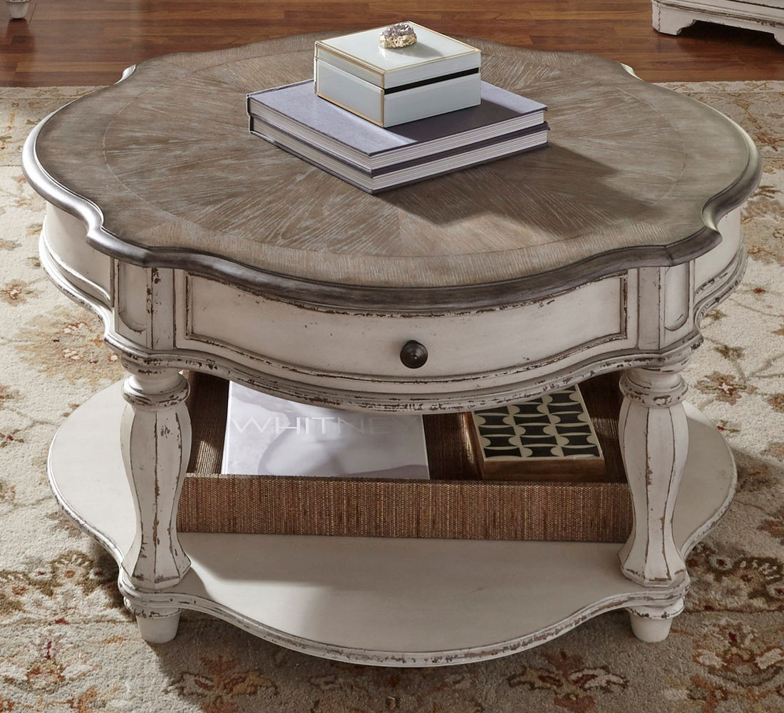 Liberty Furniture Magnolia Manor Round Cocktail Table In Antique inside size 1100 X 1000
